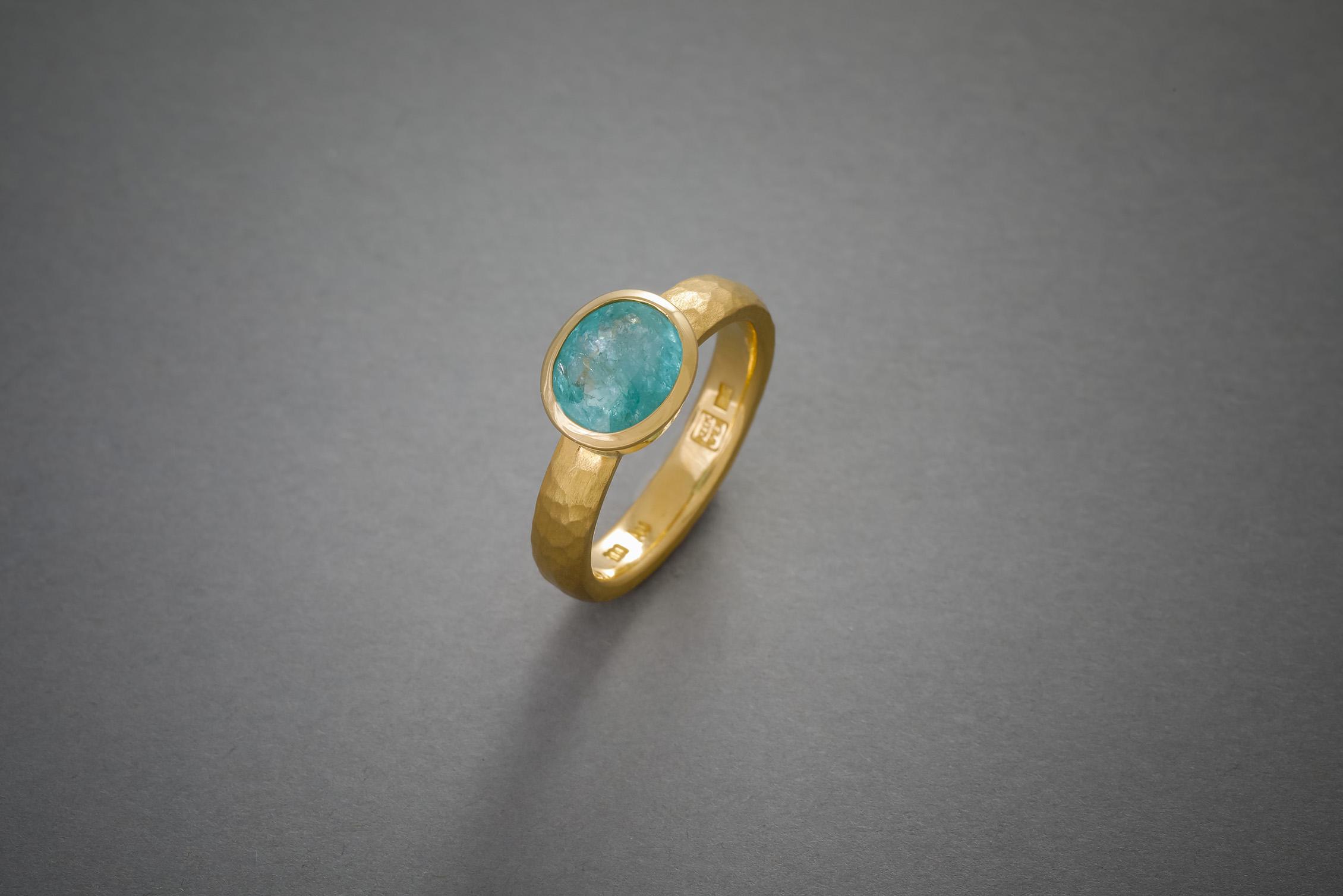 056 21kt Goldring, Paraiba Turmalin, Preis auf Anfrage